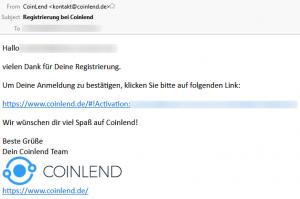 coinlend tutorial register e-mail bestätigen