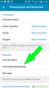 Telegram Zweistufige Bestätigung Menü