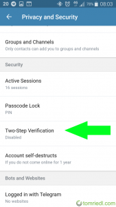 Telegram X Two-Step Verification settings menu