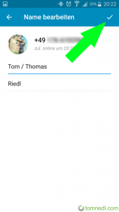 Telegram Nickname Änderung speichern