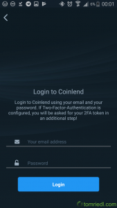 coinlend App Username Passwort