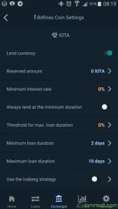 coinlend App Einstellungen Settings